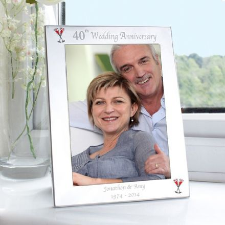 Personalised 40th Ruby Wedding Anniversary 5x7 Photo Frame